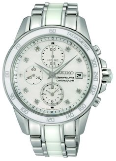 Seiko Sportura, Chronograph Watch, With mother-of-pearl and 8 diamonds, SNDX95  www.SeikoUSA.com