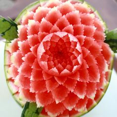 Gorgeous watermelon carving #watermelon #carving #pink #green #white
