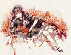 Tags: Anime, Pixiv Id 3342360, Mahou Shoujo Madoka☆Magica, Homulilly, Akemi Homura, Spider Lily, Witch