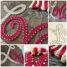 This String Art DIY Kit Love Sign comes with with red and cream string, nails, a walnut stained wood board, a pattern, and easy to follow