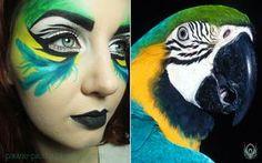 Parrot inspired makeup link to original photo: www.indiwall.com/wallpaper/blu… more of my works: pawie-piorka.blogspot.com/