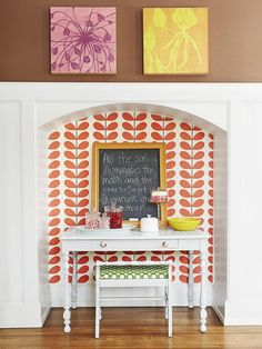 A dining room nook with a special message. #hgtvmagazine http://www.hgtv.com/decorating-basics/creating-a-cozy-house/pictures/page-16.html?soc=pinterest