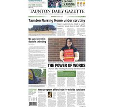 The front page of the Taunton Daily Gazette for Monday, Aug. 3, 2015.