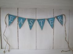 mini glittered burlap banner - would be great for a rustic Easter