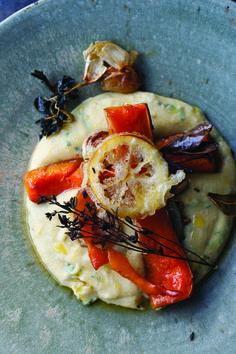 Butternut squash with buckwheat polenta and tempura lemon from Plenty More
