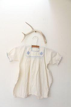 Vintage 1940s Blue Ethnic Embroidered Baby Onesie