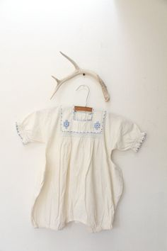 Vintage 1940s Blue Ethnic Embroidered Baby Onesie