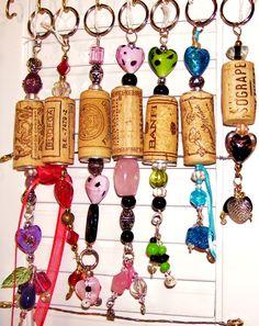 Wine cork key rings.