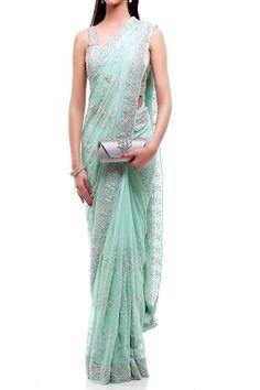 Mint Silver Saree — Inanna — Traditional Sarees | Indianhanger.com