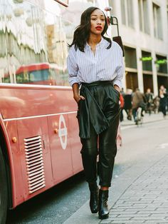 On Shereen Assopiah: Topshop Mensy Oversized Striped Shirt (£34) and Margarita Platform Boots (£79); Topshop Boutique Leather Carrot Trousers (£225). WHO...
