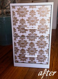 DIY idea for your home office - apply a wallpaper to the front of filing cabinet drawers @ahawk421 I want to do this to my filing cabinet after we paint it!!
