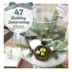 It's not too late to decorate! Create a miniature scene—and other easy ideas: http://www.midwestliving.com/homes/seasonal-decorating/quick-easy-holiday-decor/