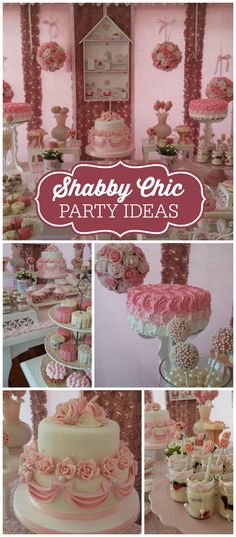 A shabby chic girl birthday party with pink and white roses for decorations and the cake! See more party planning ideas at Shower Party, Baby Shower Parties, Bridal Shower, 1st Birthday Parties, Girl Birthday, Birthday Ideas, Cumpleaños Shabby Chic, Chabby Chic, Shabby Chic Birthday