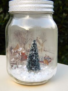 Items similar to Light Up Mason Jar Dry Snow Globe With Glitter Light Green Christmas Tree (Replacement Light Kit Available) on Etsy – Creative Winter Decors Christmas Jars, Green Christmas, Christmas Crafts, Christmas Decorations, Xmas, Christmas Tree, Etsy Christmas, Christmas Stuff, Bottles And Jars