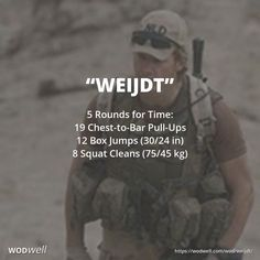 """""""Weijdt"""" WOD From CrossFit Spaarne (Haarlem, Netherlands): """"Dedicated to [Dutch] Sergeant Mark Weijdt killed during a peace mission in . Physical Fitness Program, Wod Workout, Hero Workouts, Spartan Workout, Muscle Structure, Muscle Building Supplements, Increase Muscle Mass, Cross Training, Build Muscle"""