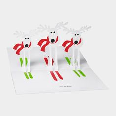 Open this card from the Museum of Modern Art, and you are greeted by a group of pop-up skiing reindeer! Pop Up Cards, Holiday Cards, Christmas Cards, Reindeer Christmas, Merry Christmas, Holiday Decor, Up Book, Dear Santa, Christmas Greetings