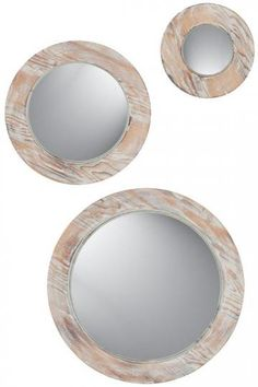 Round Washed Wood Mirrors - Set of 3