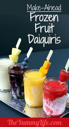 Make-Ahead Frozen Fruit Daiquiris. Blended, frozen in mason jars, ready to serve. Loaded with fruit & bursting with flavor. Great for parties & picnics!..6 oz. (3/4 cup) frozen lemonade or limeade concentrate  6 oz. (3/4 cup) light rum  4 cups frozen fruit*; may substitute fresh, flavorful, ripe fruit  2 cups ice cubes  sweetener (optional), to taste, if desired (superfine sugar, agave syrup, or other preferred sweetener)  fresh fruit for garnish (optional)