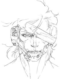 View an image titled 'Raiden Face Concept Art' in our Metal Gear Rising: Revengeance art gallery featuring official character designs, concept art, and promo pictures. Gear Drawing, Robots Drawing, Raiden Metal Gear, Cry Anime, Anime Art, Metal Gear Rising, Arte Robot, Gear Art, Arte Cyberpunk