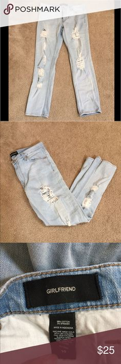 Distressed express jeans Super cute express jeans. Is girlfriend fit so meant to be a little baggy but not quite like a boyfriend fit. Worn few times but still in great shape. Jeans Boyfriend