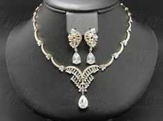 European and American fashion accessories gold-plated necklace Earring Sets Super Flash zircon crystal bridal wedding jewelry - Taobao