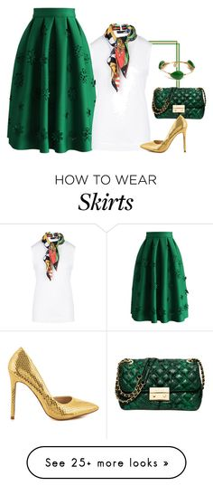 """Midi Green Goddess!"" by lollahs on Polyvore featuring Chicwish, Bourbon and Boweties, Love Moschino, Michael Kors and Liliana"
