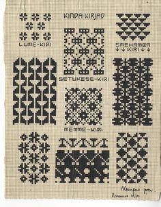 """1) """"lumekiri"""",  2) """"sahamba kiri"""",  3) """"setukese kiri"""",  4) """"memme kiri"""",  5-9) muid kindakirju  J. Kompuse joonistatud kindakirjad Rannust 1910.a"""