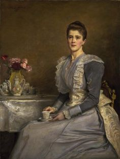 Worth day dress worn by Mary Endicott, Mrs. Joseph Chamberlain in her portrait by John Everett Millais, 1890 From the Fashion Museum, Bath on Twitter and the Birmingham Museums and Art Gallery