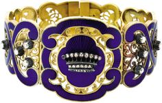 Rare French Royal Presentation Bracelet, Circa 1850. In gold, diamonds, and royal blue guilloché enamel. Said to be from the family of the Comte de Paris, pretender to the throne of France. The last King of the royal house of Bourbon-Orléans, Louis-Philippe, abdicated during the Revolution of 1848. While adopting the title of prince, his heirs style themselves Count of Paris.