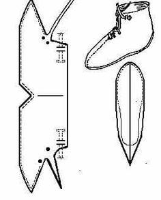 "Scandinavian ankle boot ""Oseberg turnshoe design dated to AD in ""Primitive Shoes"" (Margrethe Hald) Viking Shoes, Viking Garb, Viking Dress, Viking Costume, Viking Pattern, Medieval Pattern, Norse Clothing, Medieval Clothing, Medieval Cloak"