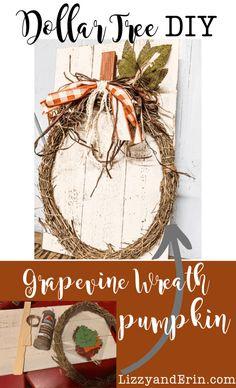 Dollar Tree Grapevine Wreath Pumpkin DIY – Lizzy & Erin – Pamela's World Dollar Tree Pumpkins, Dollar Tree Fall, Dollar Tree Crafts, Dollar Tree Store, Dollar Stores, Diy Crafts On A Budget, Easy Fall Crafts, Fall Diy, Pumpkin Wreath