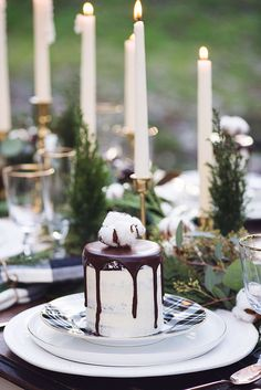 Baby, It's Cold Outside! | Rue | winter wedding table decor | fern white green cotton cake naked