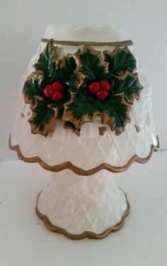 Christmas Holly Berries Tealight Candle Lamp Two Pieces