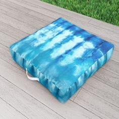 Shibori Ombre Nori Outdoor Floor Cushion by ninamay | Society6