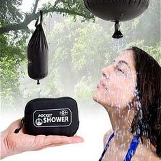 Portable Camping Shower Bag This portable camping shower bag is a really clever tool to give yourself a shower while out in the wilderness. Just fill the bag with some clean water and you've got yourself a real shower anywhere you use it