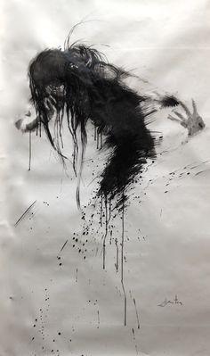 ewa hauton ink painting on paper http://ewahauton.wix.com/peinture