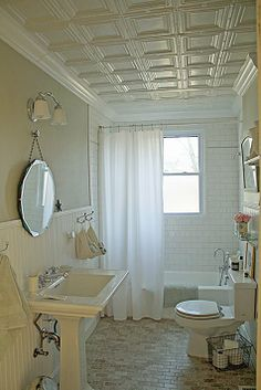 White Tin Tiles I Love The Idea Of A Ceiling And Crown Molding In Bathroom Since Our Is So Small It Might Not Break Budget