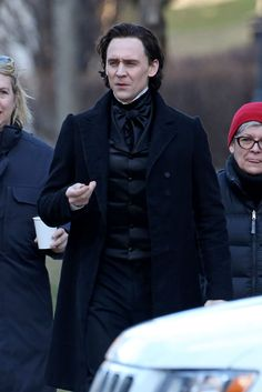 "Tom Hiddleston in costume, filming ""Crimson Peak"" in Toronto 