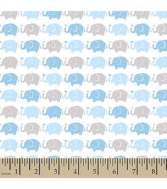 Snuggle Flannel Fabric-Elephant Parade Blue