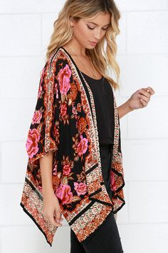 Russian Rose Red Floral Print Kimono Top ==