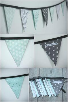 Guirlande fanions modèle 8 en tissu dans les tons de vert d'eau pastel, gris et blanc : Décoration pour enfants par ma-caisse-a-jouets