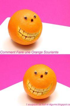 1 sculpture de fruit et légume: Comment Faire une Orange Souriante