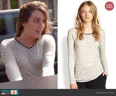 Rachel's grey long sleeved tee with black trim on Glee.  Outfit Details: http://wornontv.net/44600/ #Glee