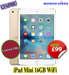 Special Offer for Genuine Apple iPad Mini at the most reasonable price in East London at Mobile Links Limited Time Offer ! Mobile Phone Repair, Ipad Tablet, Mobile Accessories, East London, Apple Ipad, Ipad Mini, Branch Mobile, Wifi, High Road
