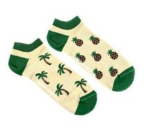 Purposely Mismatched Socks Designed in Canada Made ethically by FridaySockCo.  Pineapple and Palm trees!   Click the link to check out more than 100 designs!