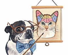 Boston Terrier Dog - Watercolor PRINT, 5x7 Cat Illustration, Science Nerd, Vintage Science Illustration, School Watercolour
