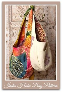 """The India Cross-body """"Boho"""" bag pattern appeals to the hippie flower-child in all of us, including myself. Wear the India Boho Bag it as a shoulder bag by tying a knot at the top of the strap. Ther..."""