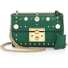 Gucci Padlock Small Studded Leather Shoulder Bag (133.070 RUB) ❤ liked on Polyvore featuring bags, handbags, shoulder bags, shoulder hand bags, green shoulder bag, shoulder handbags, studded leather purse and gucci purse