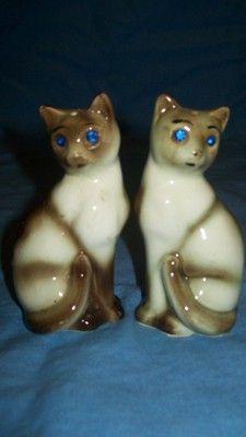 Vintage Siamese Cat Salt And Pepper Shakers Rhinestone Eyes