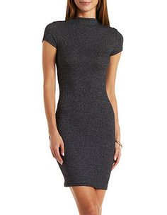 Ribbed Mock Neck Bodycon Dress: Charlotte Russe